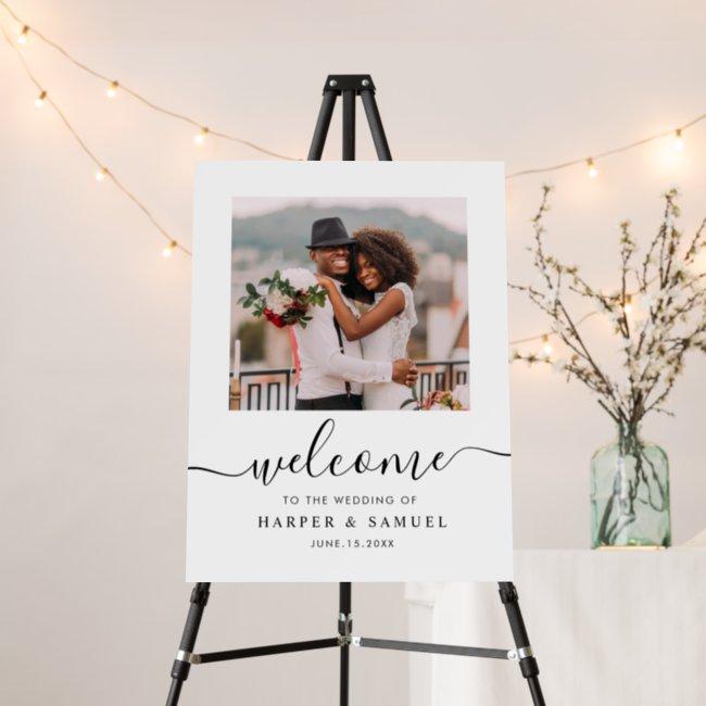 Elegant Black Calligraphy Photo Wedding Welcome Foam Board