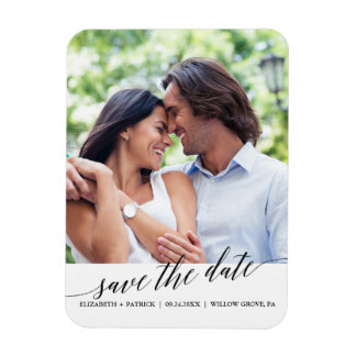 Elegant Black Calligraphy Save the Date Photo Magnet