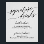 "Elegant Black Calligraphy Signature Drinks Sign<br><div class=""desc"">This elegant black calligraphy signature drinks sign is perfect for a simple wedding. The neutral design features a minimalist poster decorated with romantic and whimsical typography.</div>"