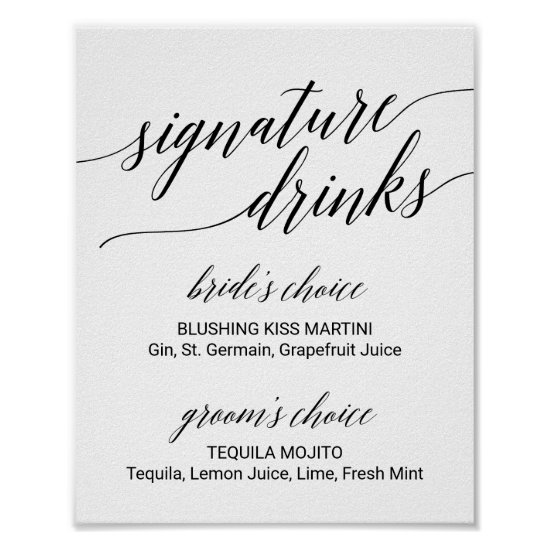 Elegant Black Calligraphy Signature Drinks Sign