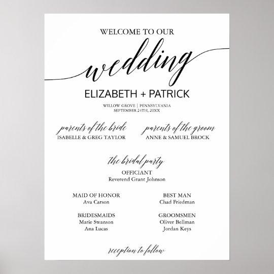 elegant black calligraphy small wedding program poster zazzle com