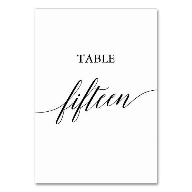 Elegant Black Calligraphy Table Number Fifteen