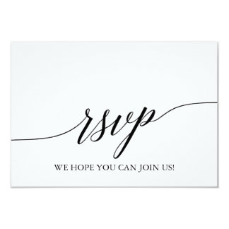 Elegant Black Calligraphy Wedding Website RSVP Card
