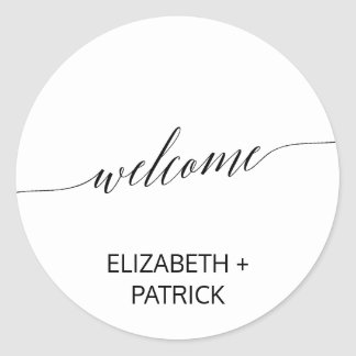 Elegant Black Calligraphy Wedding Welcome Classic Round Sticker