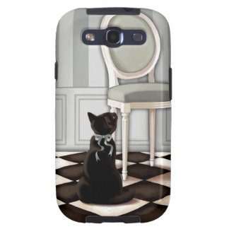 Elegant black cat and Louis chair Galaxy S3 Cover