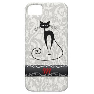 Elegant  black cat damask iPhone 5 cases