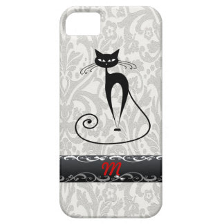 Elegant  black cat damask iPhone SE/5/5s case