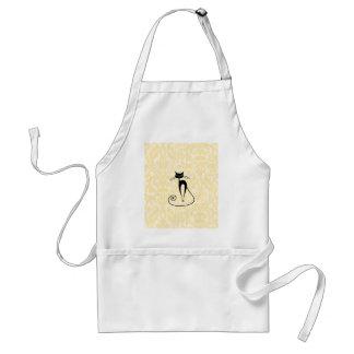 Elegant black cat damask vintage adult apron