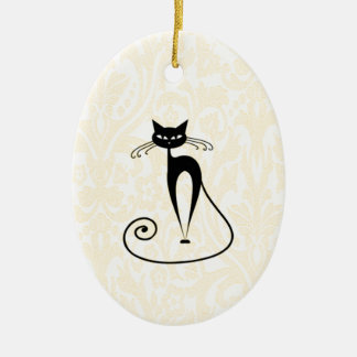 Elegant black cat damask vintage ceramic ornament