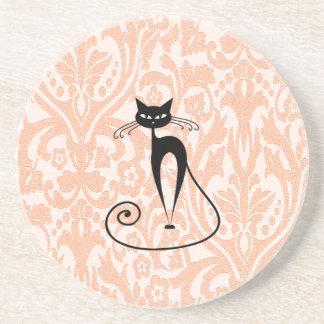 Elegant black cat damask vintage drink coaster