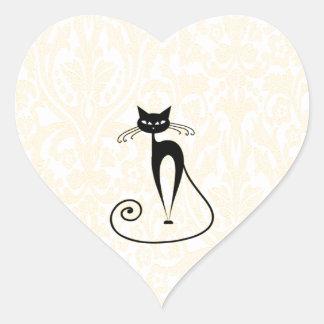 Elegant black cat damask vintage heart sticker
