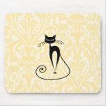 Elegant black cat damask vintage mousepad
