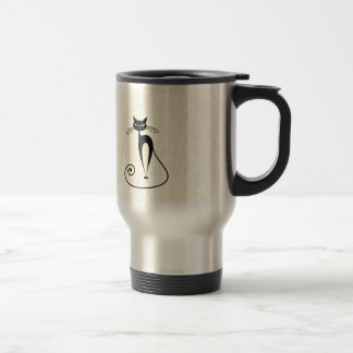 Elegant black cat damask vintage travel mug