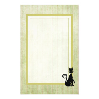 Elegant Black Cat On a Faded Striped Background Stationery