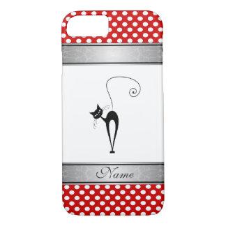 Elegant black cat polka dots personalized iPhone 7 case