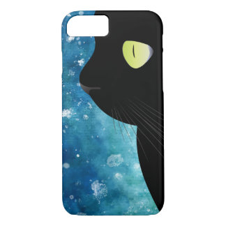 Elegant Black Cat Portrait in Blue iPhone 7 Case