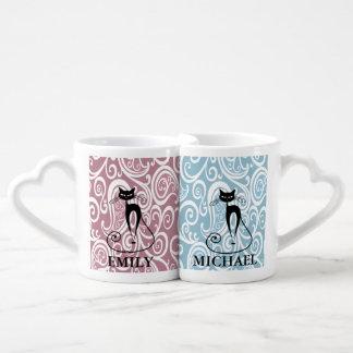 Elegant black cat vintage romantic floral/add name lovers mug
