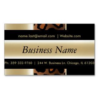 Elegant Black & Champagne Leopard Stripes Business Card Magnet