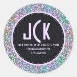 Elegant Black Colorful Purple Glitter & Sparkles 2 Classic Round Sticker