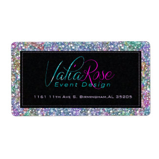 Elegant Black Colorful Purple Glitter & Sparkles 2 Label