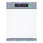 Elegant Black Colorful Purple Glitter & Sparkles 2 Letterhead
