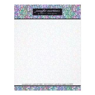 Elegant Black Colorful Purple Glitter & Sparkles 2 Custom Letterhead