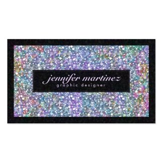 Elegant Black Colorful Purple Glitter & Sparkles Double-Sided Standard Business Cards (Pack Of 100)