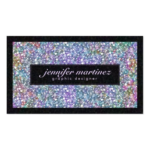 Elegant Black Colorful Purple Glitter & Sparkles Business Card Template