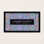 Elegant Black & Colorful Purple Glitter & Sparkles Business Card at Zazzle