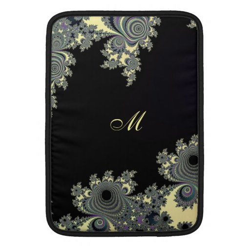 Elegant Black Cream Fractal Monogram MacBook Sleeves