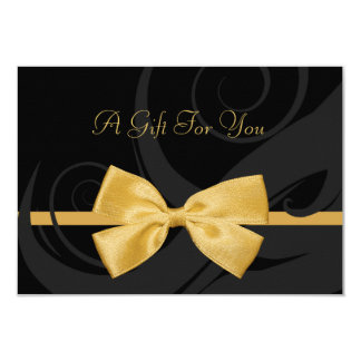 Elegant Black Curls Faux Gold Bow Gift Certificate Card