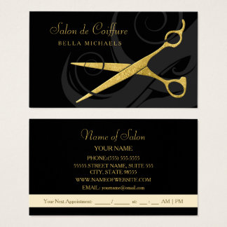 Elegant Black Curls Faux Gold Scissors Hair Salon Business Card
