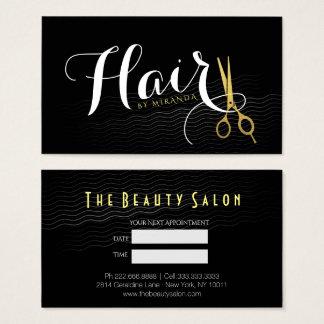 Elegant Black Curls Faux Gold Scissors Hair Salon Business Card