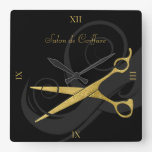 Elegant Black Curls Faux Gold Scissors Hair Salon Square Wall Clock at Zazzle