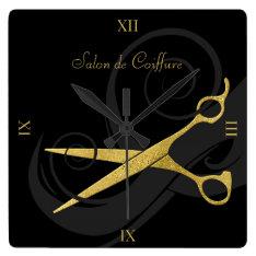 Elegant Black Curls Faux Gold Scissors Hair Salon Square Wall Clock at Zazzle