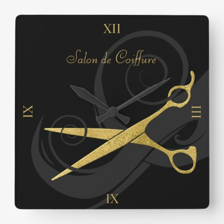 Elegant Black Curls Faux Gold Scissors Hair Salon Square Wall Clock