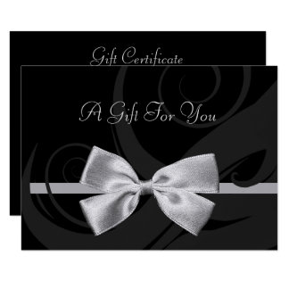 Elegant Black Curls Silver Bow Gift Certificate Card