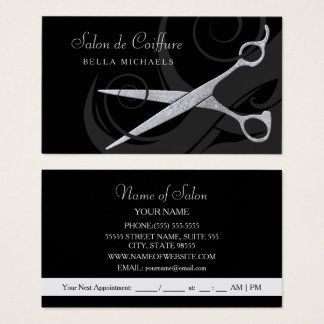 Elegant Black Curls Silver Scissors Hair Salon Business Card