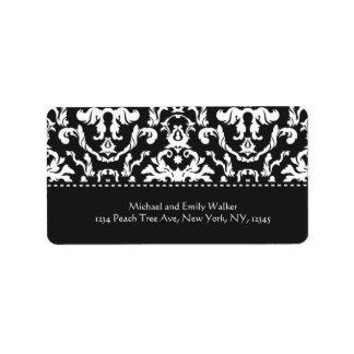 Elegant Black Damask Address Label