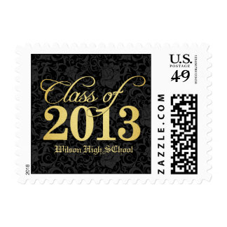 Elegant Black Damask and Gold Class of 2013 Postage