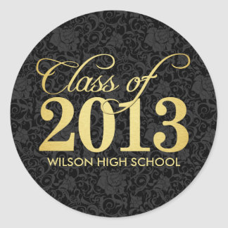 Elegant Black damask and gold Class of 2013 Stickers