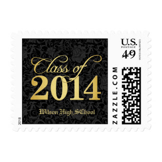 Elegant Black Damask and Gold Class of 2014 Postage Stamp