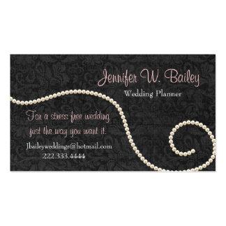Elegant Black Damask and Pearls Business Card