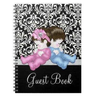 Elegant Black Damask Baby Shower Guest Book Notebooks