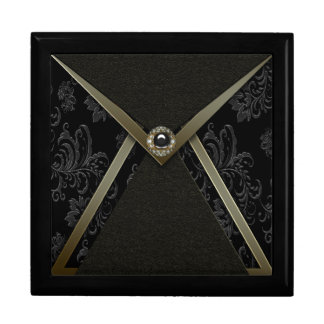 Elegant Black Damask Black Gold Keepsake Gift Box