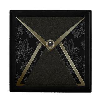 Elegant Black Damask Black Gold Keepsake Gift Box