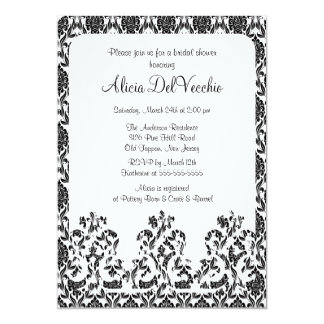 Elegant Black Damask Bridal Shower Invitation