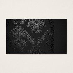 Elegant Black Damask Business Card Template at Zazzle