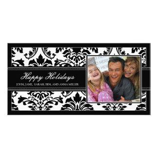 Elegant Black Damask Custom Happy Holidays Card
