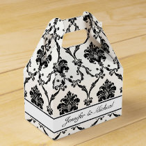 Elegant Black Damask Customizable Favor Box